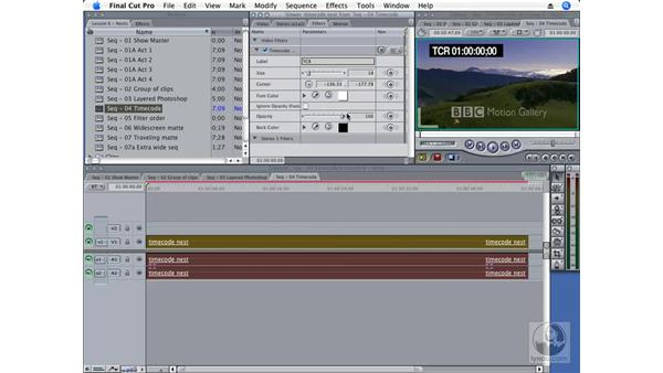 Creating a burned-in timecode as a nest: Final Cut Pro 6 Essential Effects