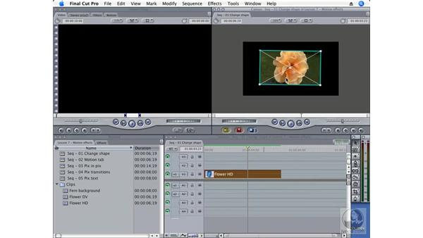 Manipulating an image inside the Canvas: Final Cut Pro 6 Essential Effects