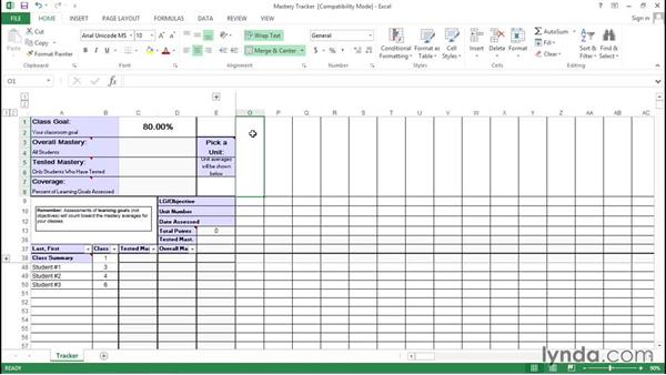 Setting up the Excel mastery tracker: Teaching Fundamentals: Data-Driven Instruction