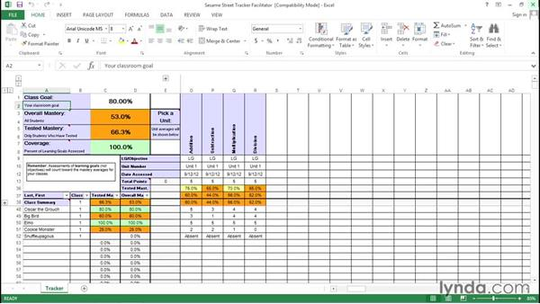 Entering data into the Excel mastery tracker: Teaching Fundamentals: Data-Driven Instruction