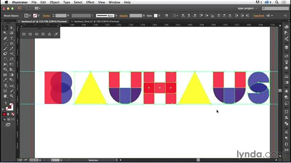 Kerning the handmade letters: Type Project: Bauhaus Book Cover