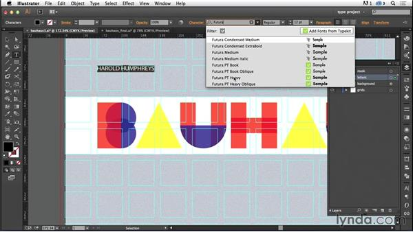Adding the background elements: Type Project: Bauhaus Book Cover