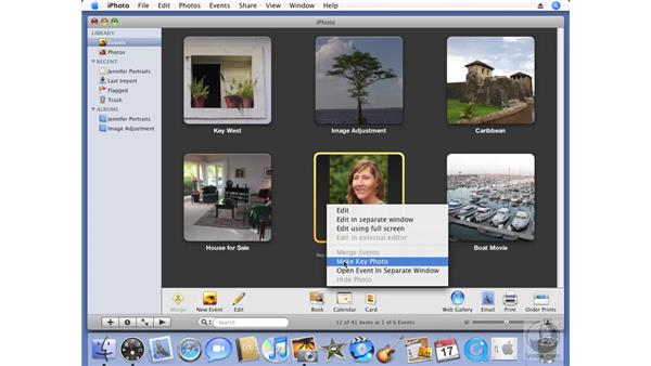 Changing the key photo: iPhoto '08 Essential Training