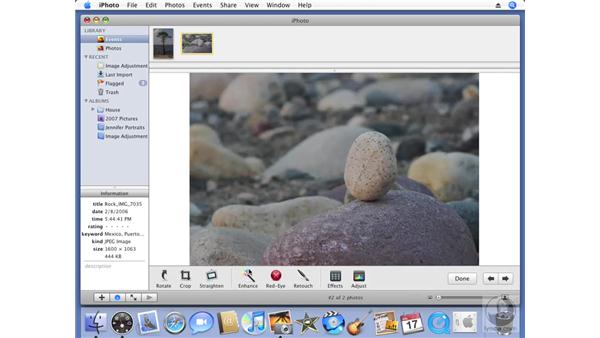 Making automatic corrections with Enhance: iPhoto '08 Essential Training