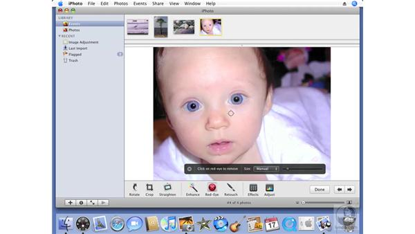 Removing red-eye: iPhoto '08 Essential Training