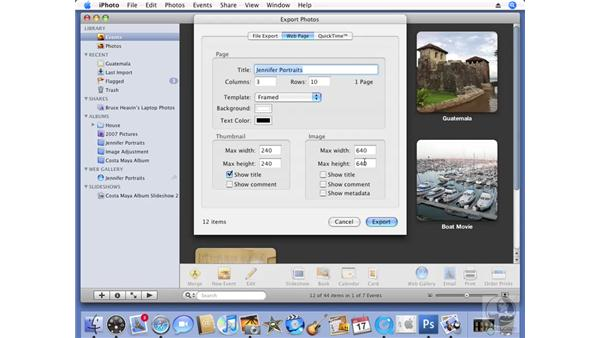 Exporting an HTML Web Gallery: iPhoto '08 Essential Training