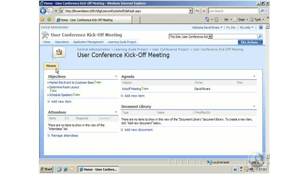 Meeting workspaces: SharePoint 2007 Essential Training