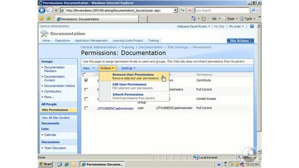 Setting permission inheritance for sites: SharePoint 2007 Essential Training
