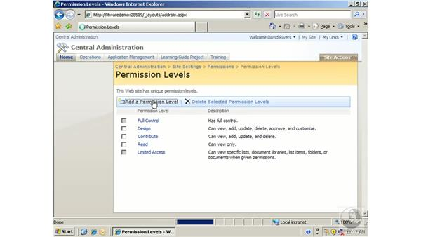 Managing permission levels: SharePoint 2007 Essential Training