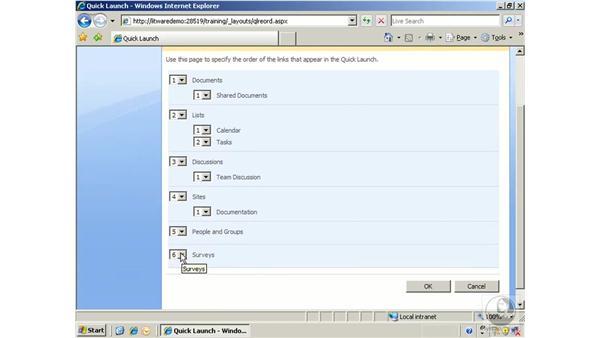 Customizing navigation options: SharePoint 2007 Essential Training