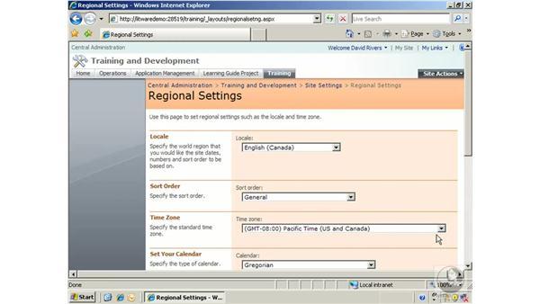 Configuring regional settings: SharePoint 2007 Essential Training