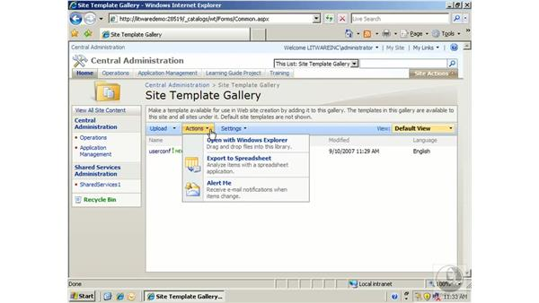 Deleting a site template: SharePoint 2007 Essential Training