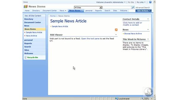 Using the News Site template: SharePoint 2007 Essential Training