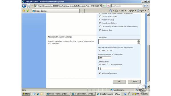 Managing columns: SharePoint 2007 Essential Training