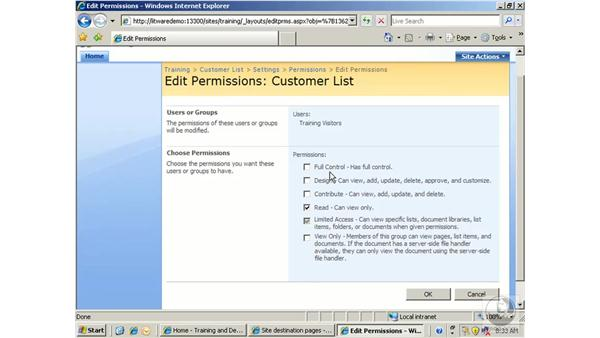Managing list security: SharePoint 2007 Essential Training