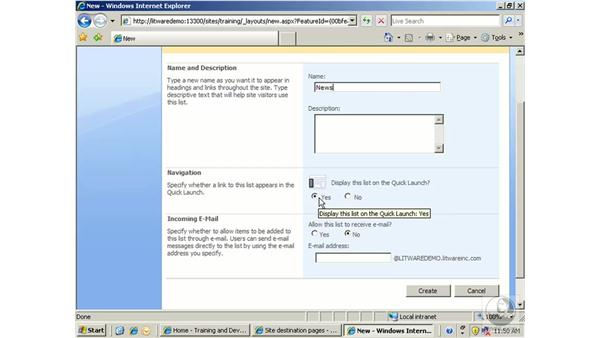 Working with announcements: SharePoint 2007 Essential Training