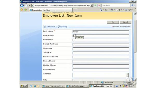 Working with contacts: SharePoint 2007 Essential Training