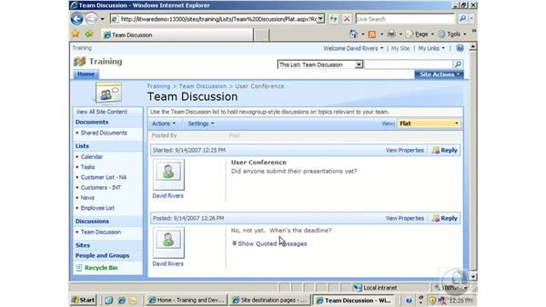 Using a discussion board: SharePoint 2007 Essential Training