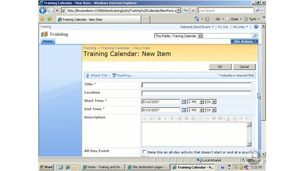 Working with calendars: SharePoint 2007 Essential Training