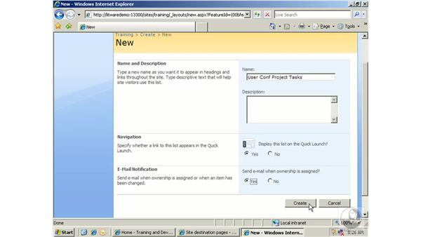 Working with tasks: SharePoint 2007 Essential Training
