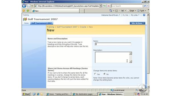 Working with custom lists: SharePoint 2007 Essential Training