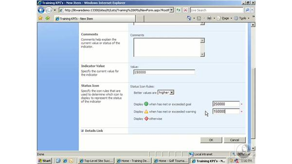 Working with KPI lists: SharePoint 2007 Essential Training