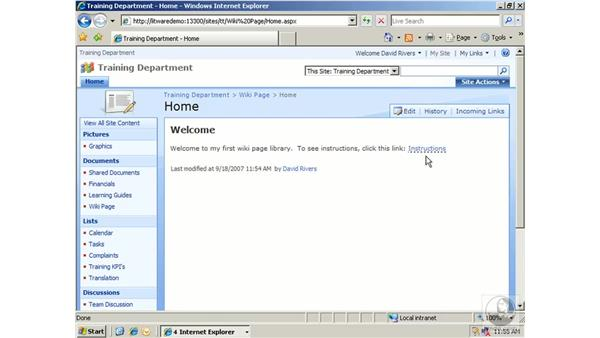 Working with wiki page libraries: SharePoint 2007 Essential Training