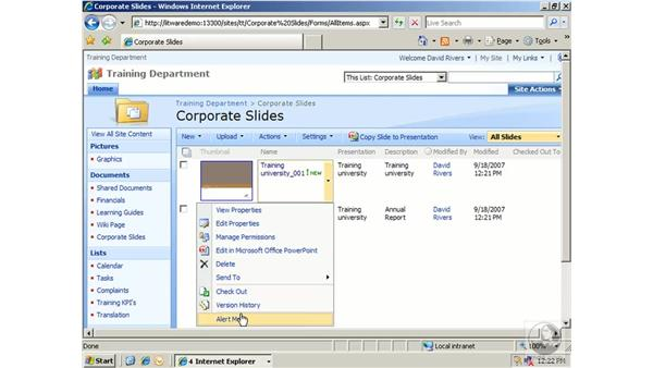 Working with slide libraries: SharePoint 2007 Essential Training