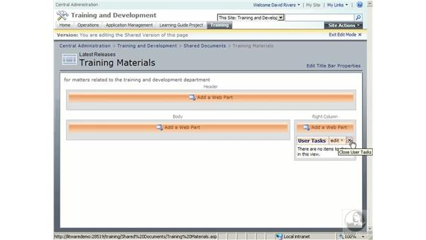 Adding Web Parts to pages: SharePoint 2007 Essential Training