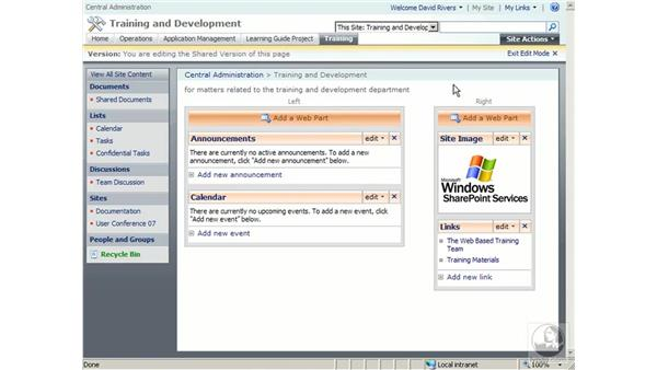 Importing and exporting Web Parts: SharePoint 2007 Essential Training