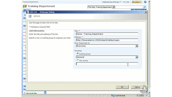 Using My Links: SharePoint 2007 Essential Training