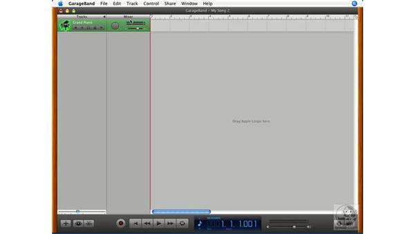 Recording a software instrument track: GarageBand '08 Essential Training