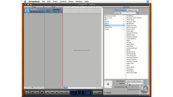 Setting input levels: GarageBand '08 Essential Training