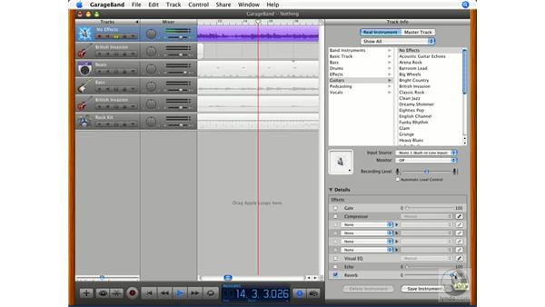 Customizing effects (echo, reverb) and saving effects settings: GarageBand '08 Essential Training