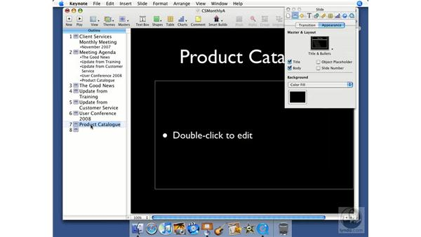 Customizing slides: Keynote '08 Essential Training