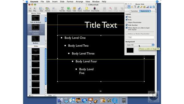 Using master slides: Keynote '08 Essential Training
