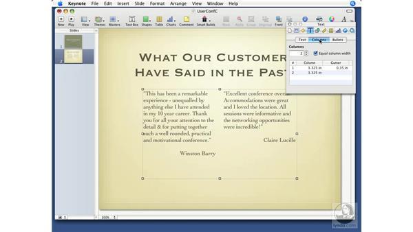 Working with columns: Keynote '08 Essential Training