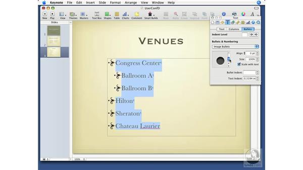 Working with lists: Keynote '08 Essential Training