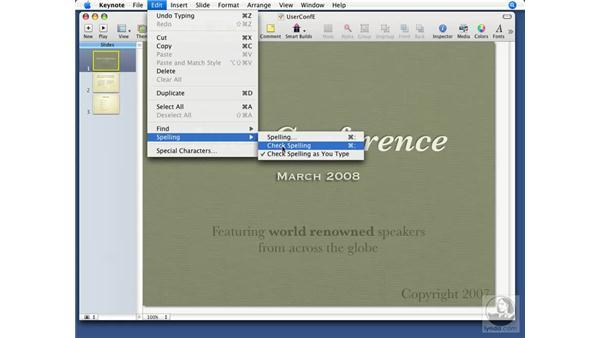 Checking spelling: Keynote '08 Essential Training