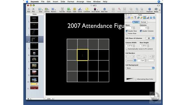 Adding tables: Keynote '08 Essential Training