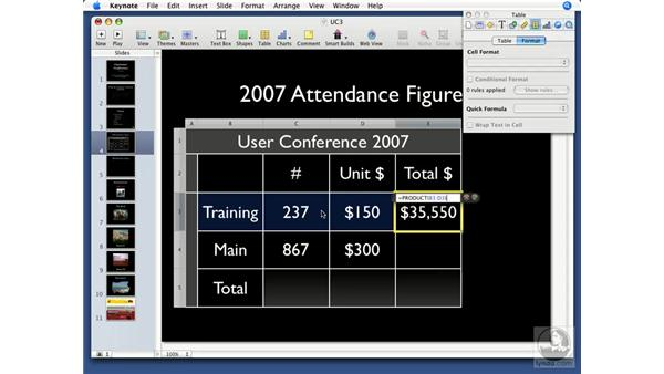 Using table calculations: Keynote '08 Essential Training