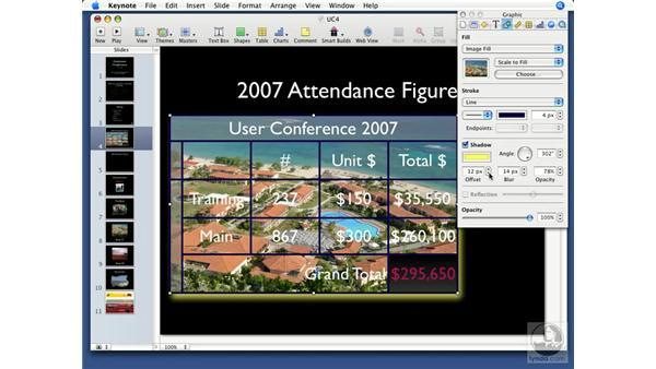 Formatting tables: Keynote '08 Essential Training