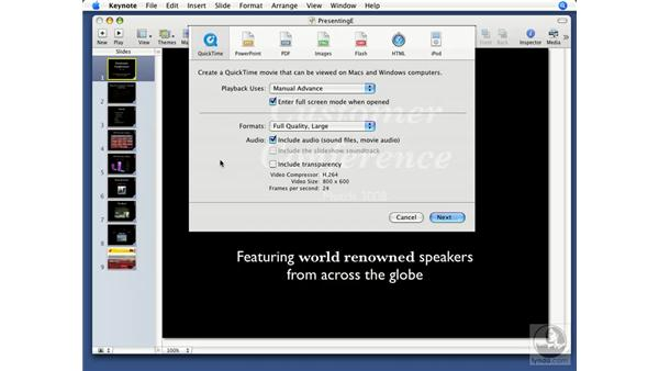 Exporting to QuickTime: Keynote '08 Essential Training