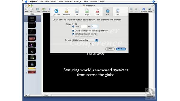 Exporting to HTML: Keynote '08 Essential Training