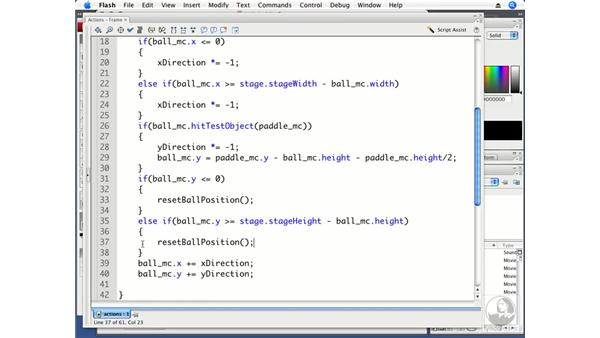 Bouncing the ball off the paddle: ActionScript 3.0 Projects: Game Development