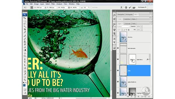 Adding and blending the goldfish: Photoshop CS3 Channels & Masks: Advanced Techniques