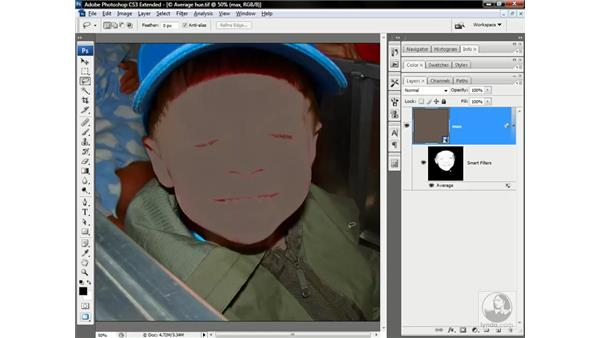 Averaging away irregular flesh tones: Photoshop CS3 Channels & Masks: Advanced Techniques