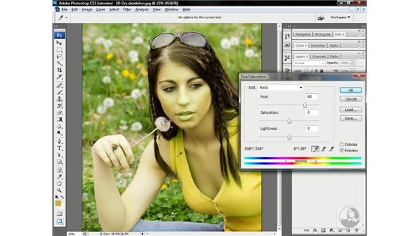 Modifying specific colors: Photoshop CS3 Channels & Masks: Advanced Techniques