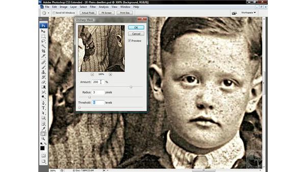 Sharpening an archival photograph: Photoshop CS3 Channels & Masks: Advanced Techniques