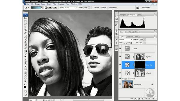 Deepening a black-and-white sky: Photoshop CS3 Channels & Masks: Advanced Techniques